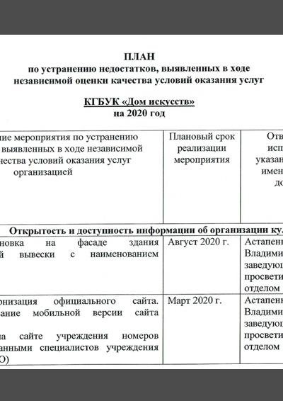 План по устранению недостатков 2020_2