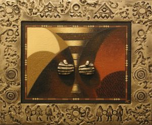 Беда А.А. Чаша. 2004. оргалит, холст, масло, декоративный рельеф. 86х104