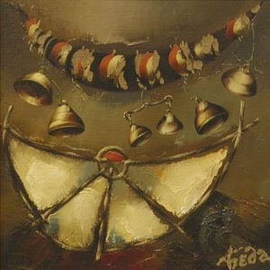 Беда А.А. Натюрморт с колокольчиками. 2001. холст, масло. 46х46