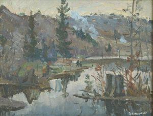 Белинский В.П. Река Есауловка. 2004 г. Холст, масло. 30х20.