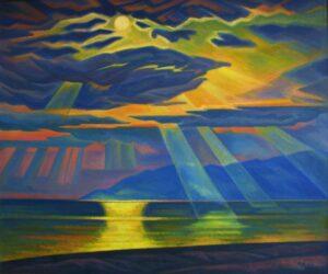 Незговорова Нина. Солнце над Байкалом. 2010 г. Холст, масло. 110х130 см.
