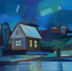Внукова Румяна. Дом у реки. 20018 г. Картон, пастель