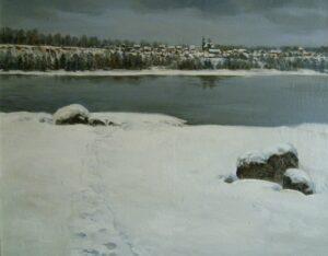 Карбушев С.С. На Енисее. Серый день, 2011. Холст, масло. 70х90 см.