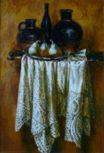 Карбушев С.С. Натюрморт с белой скатертью, 2008. Холст, масло. 100х70 см.