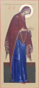 Привалихин Виктор. Божия Матерь. 2017 г. Левкас, темпера, золото. 140х70 см.