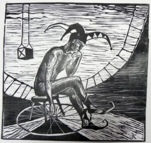 Колесо фортуны. Перепутье. 2007 г. Обрезная ксилография, рис. бумага. 35х36
