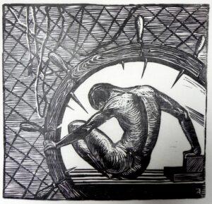 Колесо фортуны. Страдание. 2007 г. Обрезная ксилография, рис. бумага. 35х36