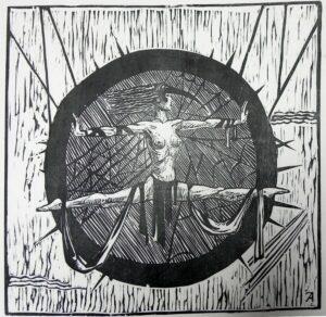 Колесо фортуны. Удача. 2007 г. Обрезная ксилография, рис. бумага. 35х36