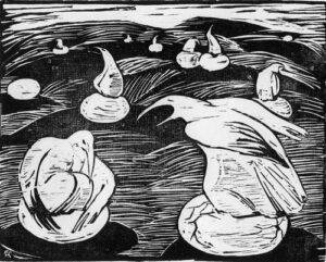 Птицы. Новое поколение. 2008, обрезная ксилография, 22,5х18