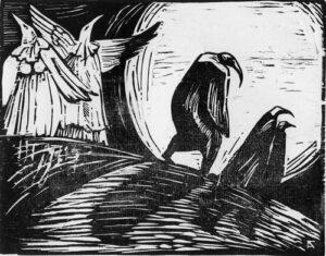 Птицы. Прощание. 2008, обрезная ксилография, 22,5х18