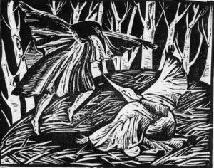 Птицы.Битва. 2008, обрезная ксилография, 22,5х18