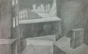 Прудников Д.В. Из серия «Белые ночи». 2015г. Бумага, карандаш. 41х66 см.