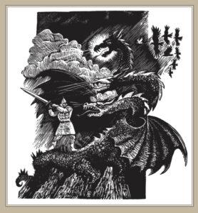 Сорокин А.В. Добрыня Никитич и Змей Горыныч. 1997 г. 26х19 см.