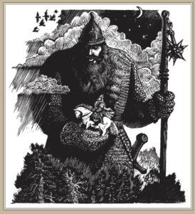 Сорокин А.В. Илья Муромец и Святогор. 1997 г. Торцовая ксилография. 26х19 см.