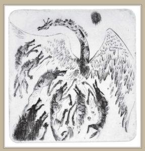 Сорокин А.В. Мечта и обстоятельства. 2000 г. Резцовая гравюра на меди. 20х16 см.