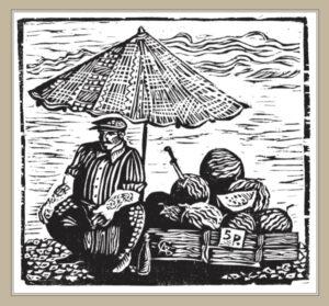 Сорокин А.В. Продавец арбузов. 2003 г. Обрезная ксилография. 32х34 см.
