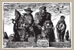 Сорокин А.В. Рынок. 1997 г. Обрезная ксилография. 32х34 см.