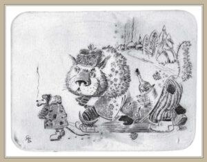 Сорокин А.В. Сибирский кот. 2001 г. Резцовая гравюра на меди. 18х22 см.