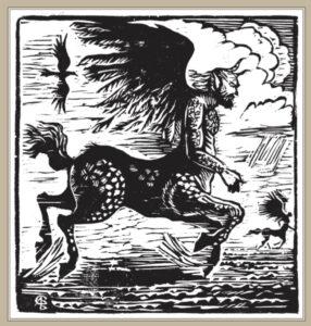 Сорокин А.В. Словно ветер. 2001 г. Обрезная ксилография. 30х34 см.