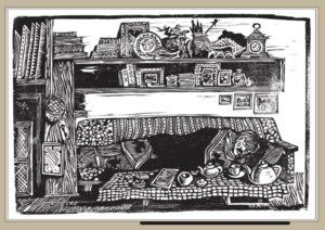 Сорокин А.В. В мастерской художника. Сон. 2004 г. 1998 г. Обрезная ксилография. 31х35 см.