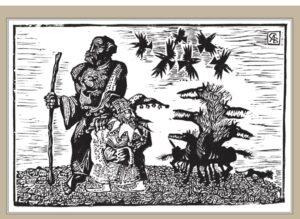 Сорокин А.В. Верный друг. 2007 г. Обрезная ксилография. 31х34 см.