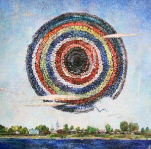 Аблязова Е.О. Солнце из серии Сибирские артефакты. 2018 г. Холст, масло. 105х105 см.