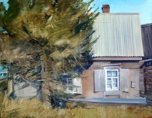 Резинкина В.В. Дом у дороги. 2018 г. Картон, темпера. 84х105 см.