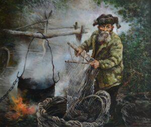 Волокитин А.И. Рыбак с Чулыма. 2016 г. Холст, масло. 118х142 см.