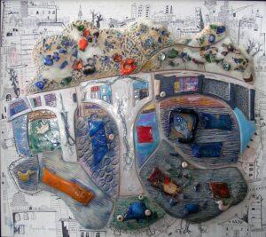 Воронова М.В. Панно Красноярск. 2006 г. Керамика, глазури, стекло.