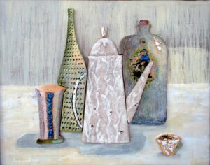 Воронова М.В. Панно Натюрморт в стиле Моранди. 2012 г. Керамика, глазури, стекло.