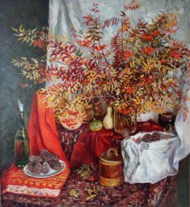 Бердюгина Н.А. Краски осени. 2001 г. Холст, масло. 120х110 см.