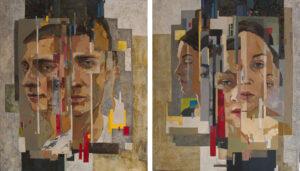 Лапуста(Пляскина) А. С. Парный портрет Дуальность холст масло 102 Х88, 5 см 2019 г
