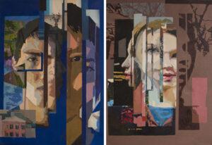 Лапуста(Пляскина) А. С. Парный портрет. Деление. Левая, правая часть70X50 см. холст. масло. 2018 г.