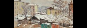 Лекаренко А.П. Последний снег. 1970 г. Бумага, акварель, гуашь.