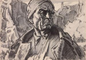 Кобытев Е.С. Непокоренный из серии До последнего дыхания. 1962 г. Бумага, акварель. 59,5х85 см.