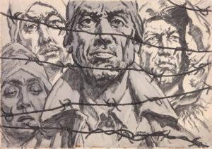 Кобытев Е.С. Я вернусь к тебе Россия. Из серии До последнего дыхания. 1963 г. Бумага, уголь, черная акварель. 59,5х85