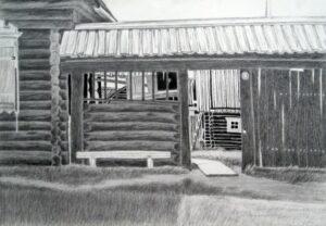 Рогачев В.И. Крестьянский двор. 2008. Бумага, карандаш. 43х61
