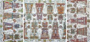 Рогачев Виктор. Триптих Хоровод. 2004 г. Холст, масло, акрил. 100х210 см.