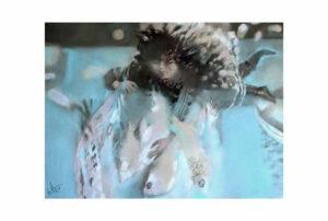 Афонов Ю.Н. Ночная рыбалка. 2007 г. Бумага, пастель. 50х70 см.