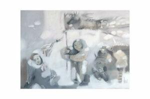 Афонов Ю.Н. Праздник оленьих пастухов. 2007 г. Бумага, пастель. 50х70 см.