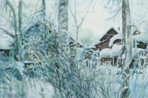 Бородин В.М. Морозное утро. 2005 г. Бумага, акварель. 49x59 см.