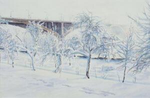 Бородин В.М. Мост зимой. 2006 г. Бумага, акварель. 38x58 см.
