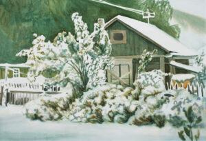Бородин В.М. Первый снег. 2005 г. Бумага, акварель. 49x60 см.