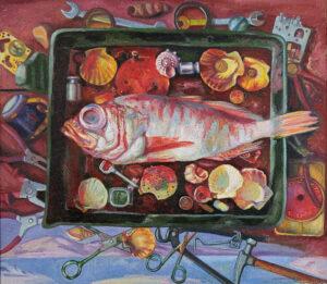 Бычинский В.Н., Пойманный окунь, хм, 120х130, 2006