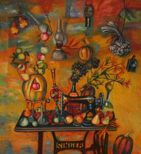 Бычинский Владимир Николаевич, Заслуженный художник РФ, 1951 г.р., «Плоды и механизмы», холст, масло, 120х110, 2016