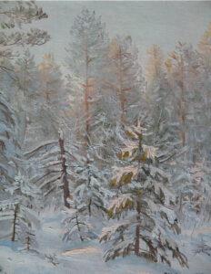 Кузаков Г.В. Морозное утро. 1992 г. Холст, масло. 39х32 см.