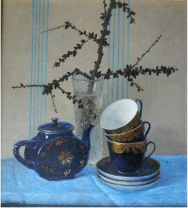 Кузаков Г.В. Натюрморт с синими чашками. 1996 г. Холст, масло. 50х60 см.