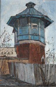 Кузаков Г.В. Старый Ачинск. Этюд. 1987 г. Картон, масло. 48х32 см.