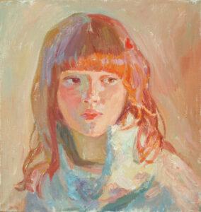 Пономарева М.Л. Девушка в двойном освещении. 2008 г. Холст, масло. 40х38 см.
