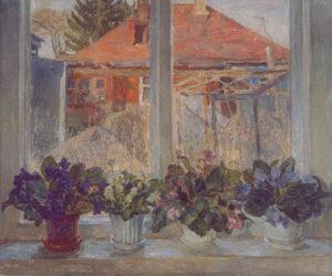 Пономарева М.Л. Фиалки. 2002 г. Холст, масло. 67x80 см.
